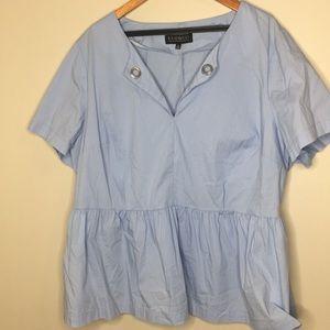 Eloquii Shirt peplum hem blue sz 22
